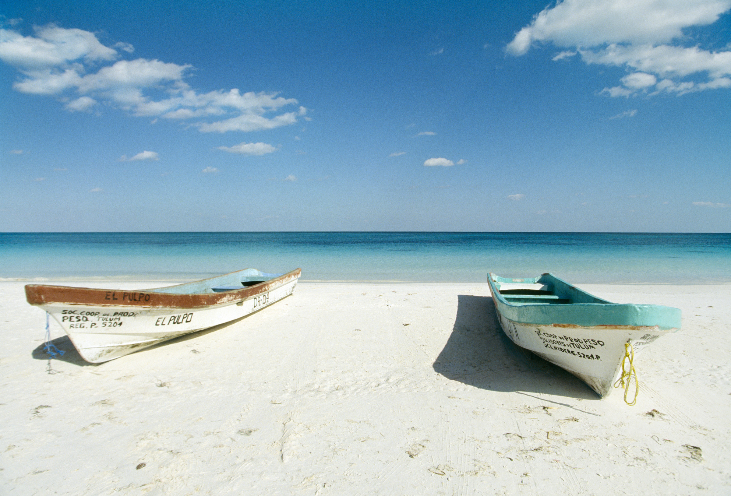 Boats on beach, Tulum, Quintana Roo, Mexico --- Image by © Erik P./zefa/Corbis