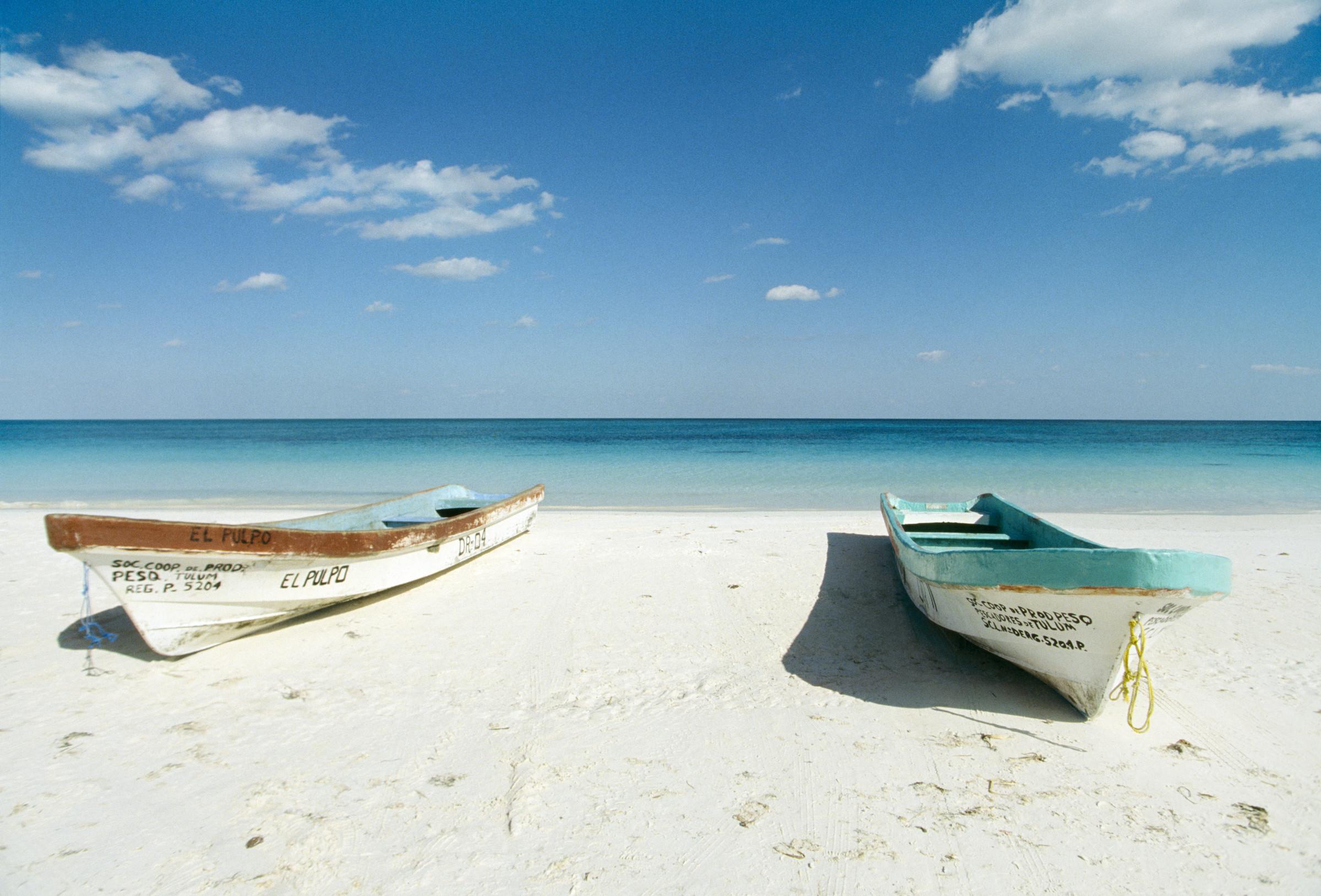 Boats on beach, Tulum, Quintana Roo, Mexico --- Image by © Erik P./zefa/Corbis